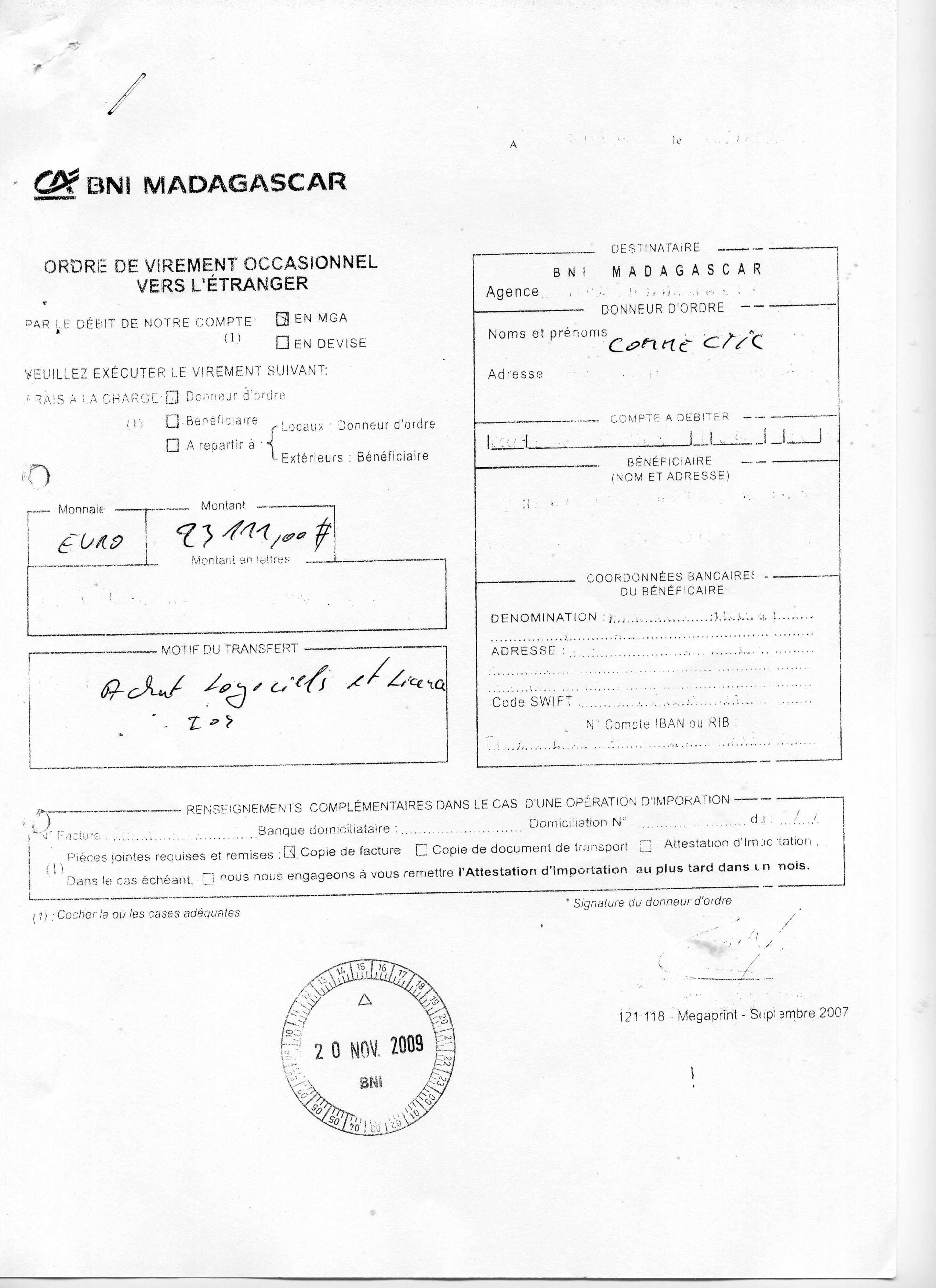 8 me virement international de euros du 23 novembre 2009 de connectic vers emergent. Black Bedroom Furniture Sets. Home Design Ideas